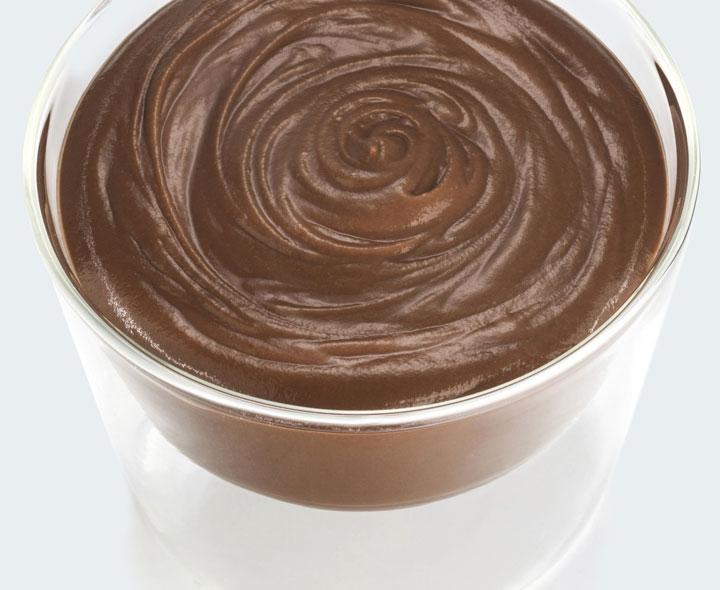 Mousse de Chocolate con Coulis chocolate y caramelo