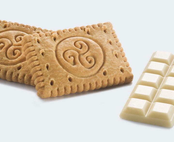 Biscuits et chocolat blanc crunch